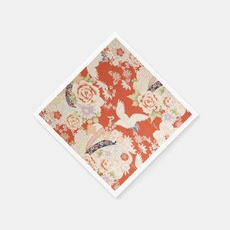 Japanese Red Kimono Crane Pattern Sakura Flowers Standard Cocktail Napkin