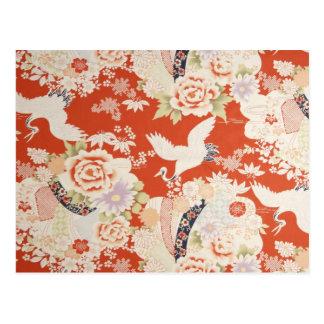 Japanese Red Kimono Crane Pattern Sakura Flowers Postcard