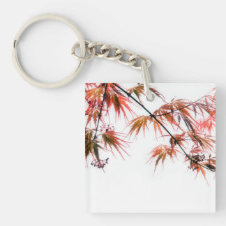 Japanese Red Maple Art Photography Keychain