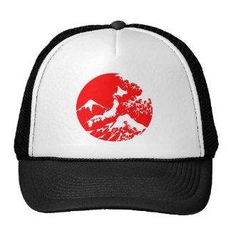 Japanese Red Mount fuji wave print hat