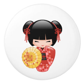 Japanese Red Sakura Kokeshi Doll Ceramic Knob