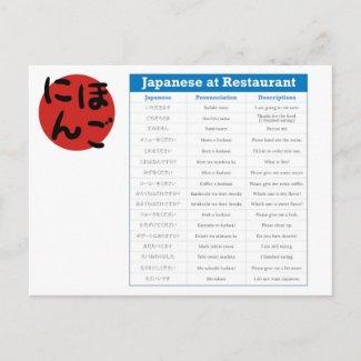 Japanese Restaurant Chart Postcard