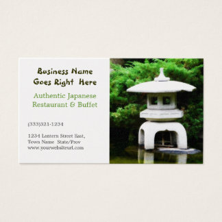 Japanese Restaurant Pagoda Water Garden Business Card