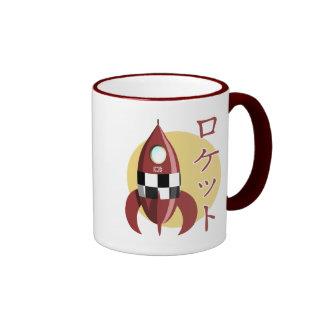 Japanese Retro Rocket Ringer Coffee Mug