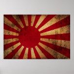 Japanese Rising Sun Flag (distressed) Poster