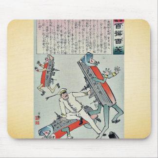 Japanese sailors fighting by Kobayashi,Kiyochika Mouse Pad