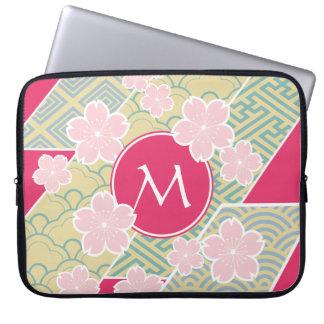 Japanese Sakura Cherry Blossoms Geometric Patterns Computer Sleeve