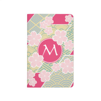 Japanese Sakura Cherry Blossoms Geometric Patterns Journal