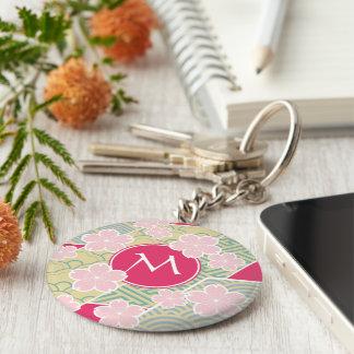 Japanese Sakura Cherry Blossoms Geometric Patterns Keychain