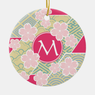 Japanese Sakura Cherry Blossoms Geometric Patterns Christmas Tree Ornament