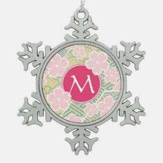 Japanese Sakura Cherry Blossoms Geometric Patterns Ornaments