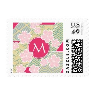 Japanese Sakura Cherry Blossoms Geometric Patterns Postage
