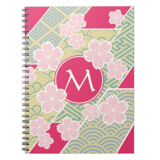 Japanese Sakura Cherry Blossoms Geometric Patterns Spiral Notebook
