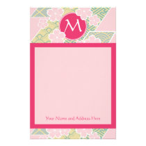 Japanese Sakura Cherry Blossoms Geometric Patterns Stationery