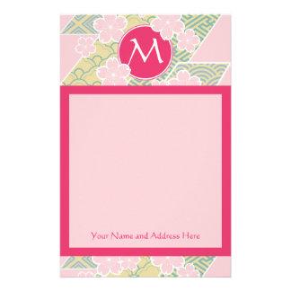 Japanese Sakura Cherry Blossoms Geometric Patterns Stationery