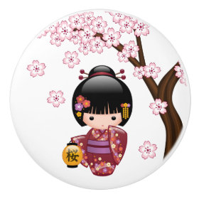 Japanese Sakura Kokeshi Doll Ceramic Knob