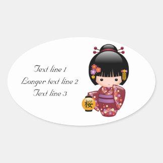 Japanese Sakura Kokeshi Doll Oval Stickers