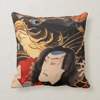 Japanese Samurai and Koi Fish Throw Pillow