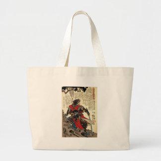 Japanese Samurai Cool Oriental Classic Warrior Art Large Tote Bag