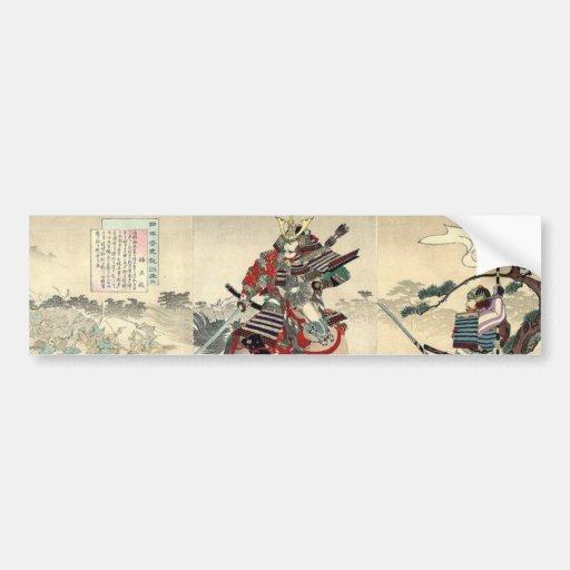 Japanese samurai fighting Scene Bumper Sticker