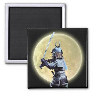 Japanese Samurai & Full Moon Art Magnet
