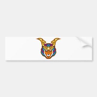 japanese samurai warrior head bumper sticker