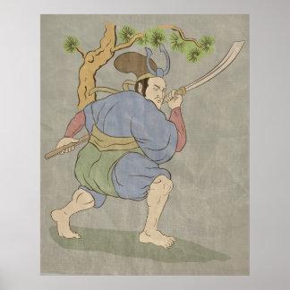 Japanese samurai warrior katana sword fighting poster