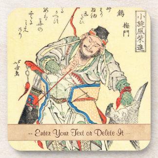 Japanese Samurai Warrior sketch tattoo Hokusai Beverage Coaster