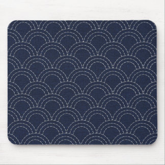 Japanese sashiko ocean waves mouse pad