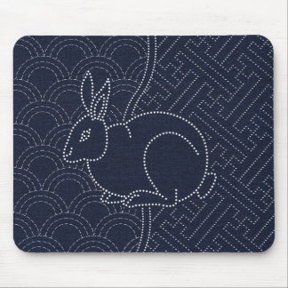Japanese sashiko rabbit mouse pad