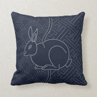 Japanese sashiko rabbit pillow