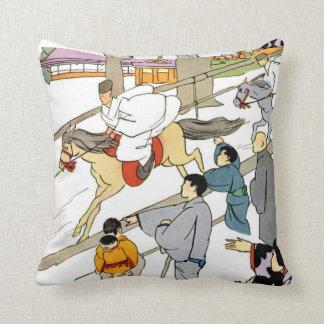 Japanese Scene Horse Racing Throw Pillow