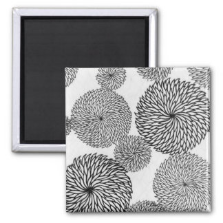 Japanese School's Chrysanthemums 2 Inch Square Magnet