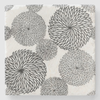 Japanese School's Chrysanthemums Stone Coaster