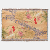 Japanese Scroll Wisteria Roses Flower Floral Throw