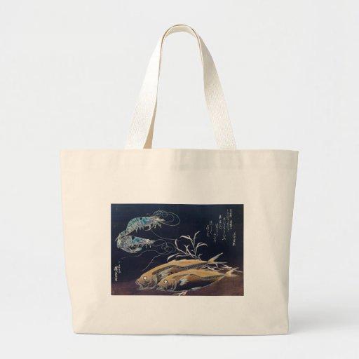 Japanese Sea Life Painting circa 1800's Bag