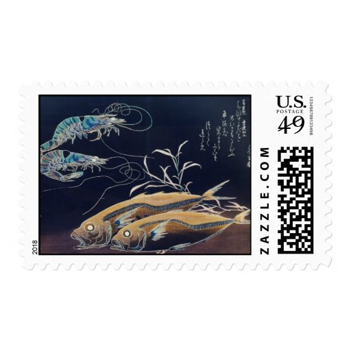 Japanese Sea Life Painting circa 1800's Postage Stamps
