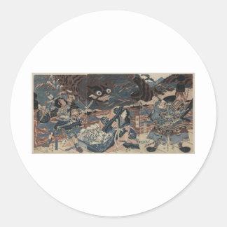 Japanese Sea Monster circa 1815 Round Stickers