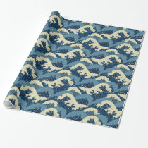 Japanese sea waves pattern wrapping paper