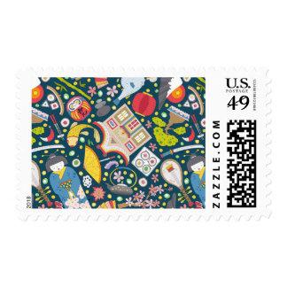 Japanese Seamless Pattern Postage
