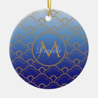 Japanese Seigaiha Scallop Gradated Royal Blue Gold Ceramic Ornament