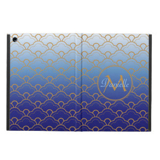 Japanese Seigaiha Scallop Gradated Royal Blue Gold iPad Air Cases
