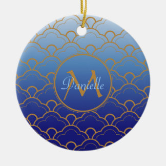 Japanese Seigaiha Scallop Gradated Royal Blue Gold Double-Sided Ceramic Round Christmas Ornament