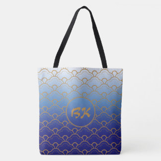 Japanese Seigaiha Scallop Gradated Royal Blue Gold Tote Bag