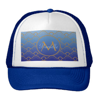 Japanese Seigaiha Scallop Gradated Royal Blue Gold Trucker Hat