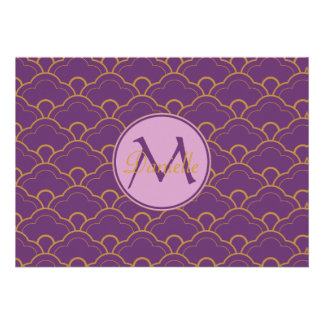 Japanese Seigaiha Scallop Purple Gold Pink Orient Card