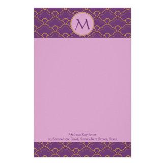 Japanese Seigaiha Scallop Purple Gold Pink Orient Custom Stationery