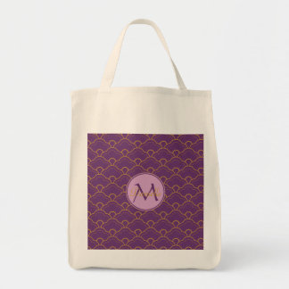 Japanese Seigaiha Scallop Purple Gold Pink Orient Tote Bag