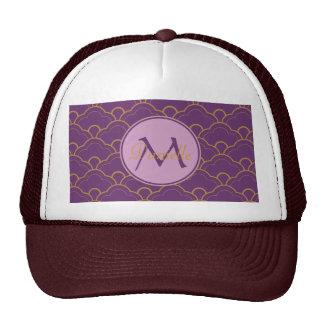 Japanese Seigaiha Scallop Purple Gold Pink Orient Trucker Hat