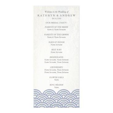 Beach Themed Japanese Seigaiha Waves Program/Order of Service Rack Card